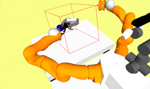 Only the visible shape of the object (jug) held in the hand is acquire. The system automatically substract the point cloud belonging to the robot hand via properception.