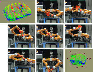 Top left: initial estimation of the object shape via visual clues (point cloud). Figure 2-8, the robot plans and executes a sequences of touches to gather information that will allow it to reconstruct accurately the shape of the object with the minimimum number of touches. Bottom right, final reconstruction to be rendered.