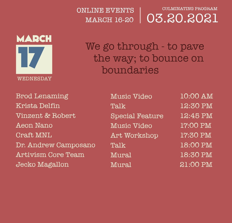 March 17 - Wednesday