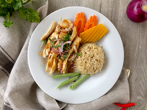 C09น้ำตกไก่ย่าง SPICY SLIDED GRILLED CHICKEN SALAD