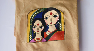 Fabric Paint on Silk Blouse Piece (1mtr)-Two Ladies
