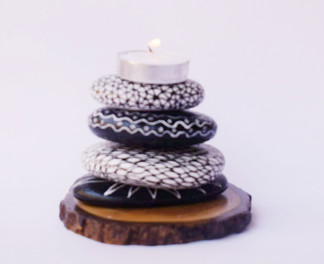 Pebble Work - Candle Stand Black&white abstract work