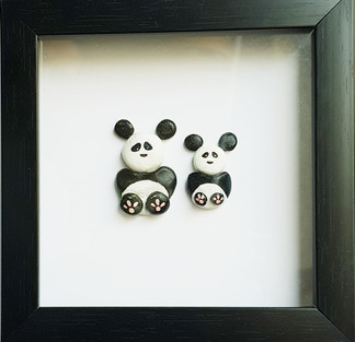 Pebble Work (Kids Frame) - Two Pandas