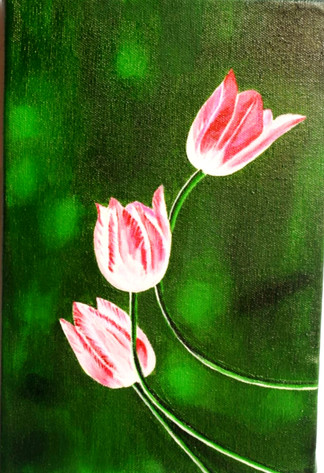 Acrylic Work - Tulips on Canvas