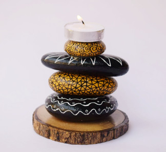 Pebble Work - Candle Stand Black&Okre abstract work