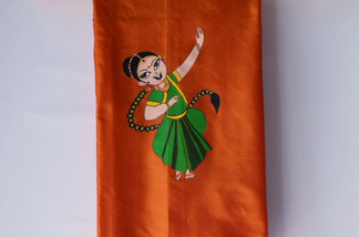 Fabric Paint on Silk Blouse Piece (1mtr)-Dancing Lady