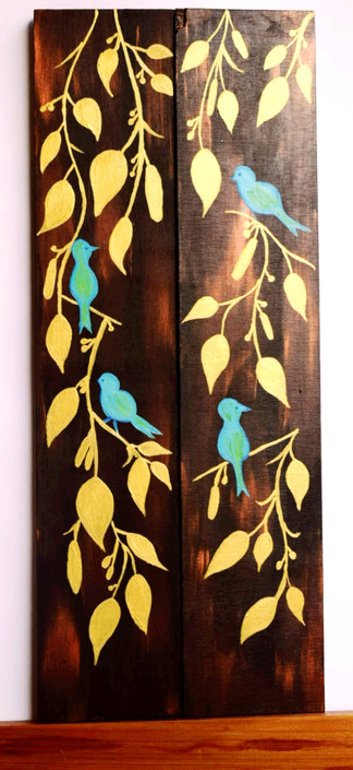 Acrylic Art on Wooden Panels - Birds with