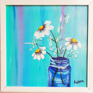 Acrylic Work on Canvas - Flower Vase