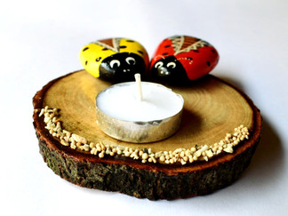 Pebble Work - Candle Stand Bettles