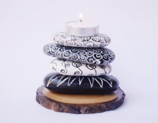 Pebble Work - Candle Stand Black&white abstract work0105_201914.jpg