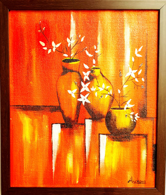 Acrylic work on Canvan - Three Vases