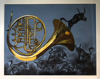 Acrylic & Charcoal Art - French Horn & Bulls