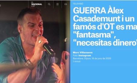 """GUERRA Àlex Casademunt i un famós d'OT es maten: """"fantasma"""", """"necesitas dinero"""". Nacional.cat"""