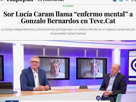 "Sor Lucía Caram llama ""enfermo mental"" a Gonzalo Bernardos en Teve.Cat - Vox Populi"