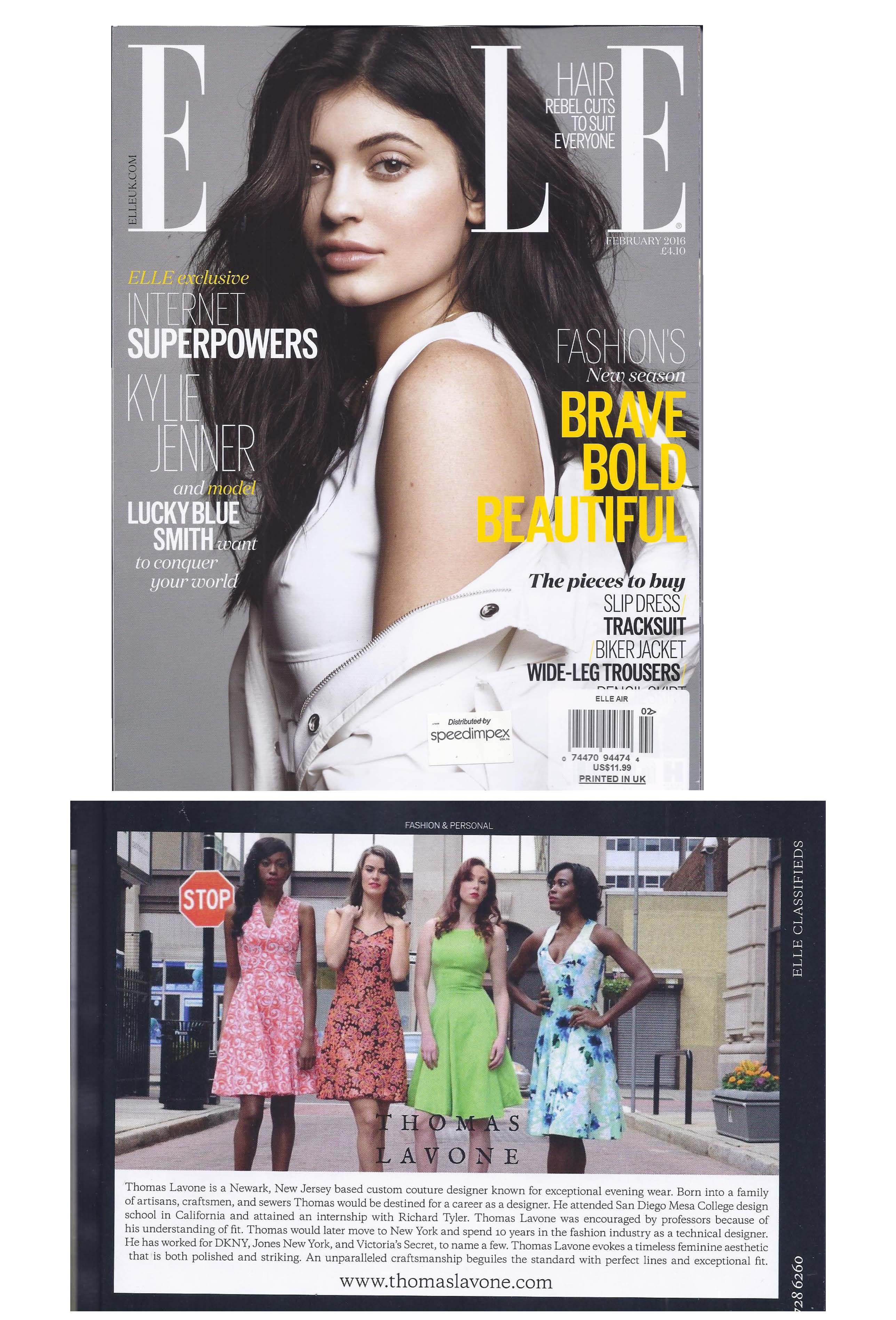 Feb 2016 Elle UK cover