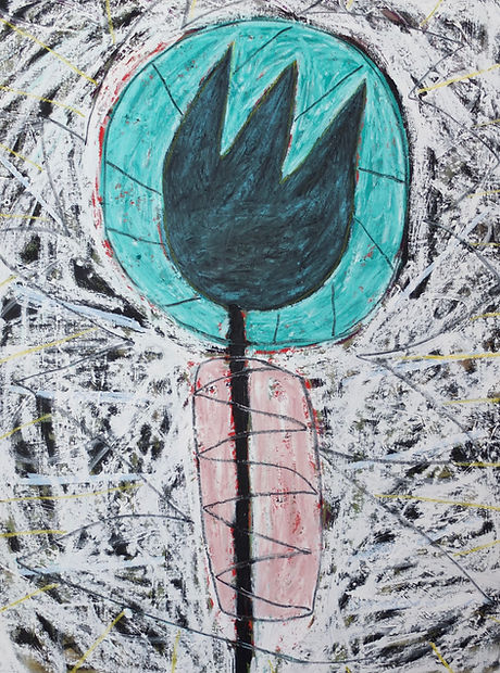 Lake Worth Tulip_52x43in_Oil stick and a
