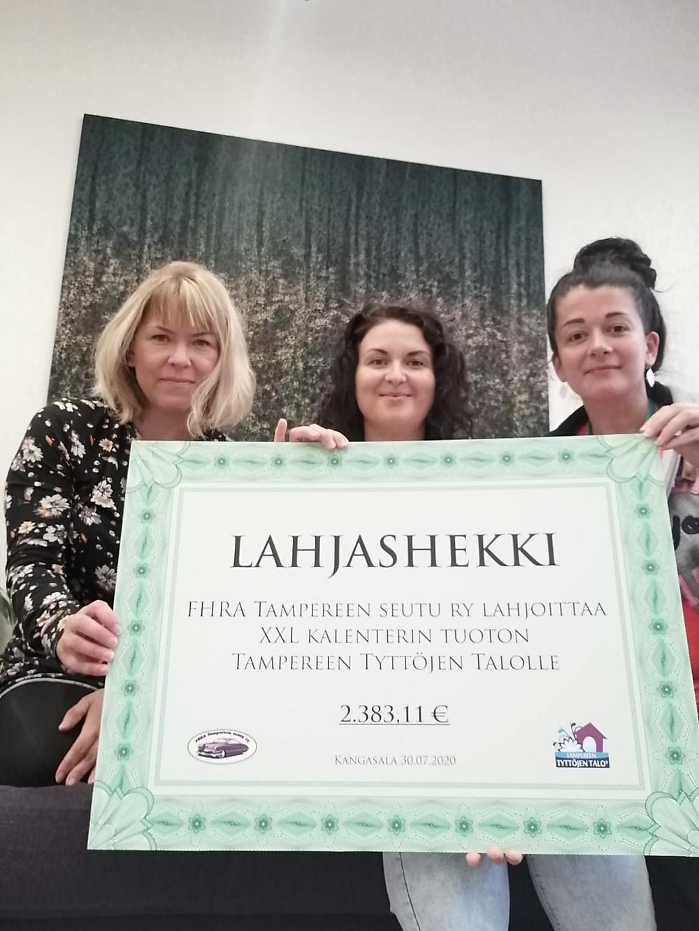 Tyttöjen Talo kiittää lahjashekistä FHRA Tampereen seutua