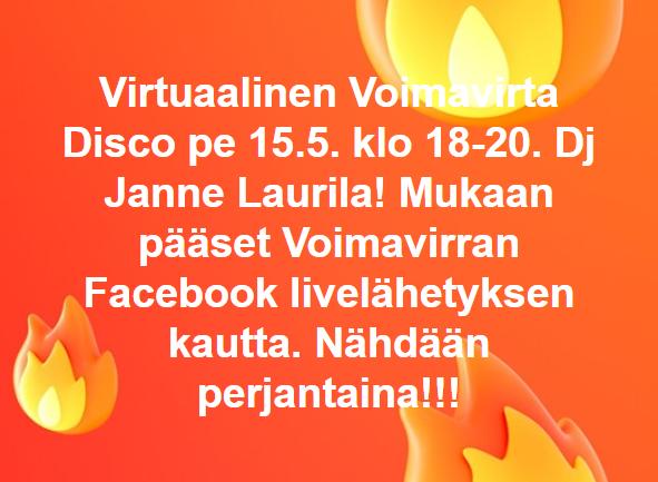 Kuva virtuaalidiscon ilmoituksesta