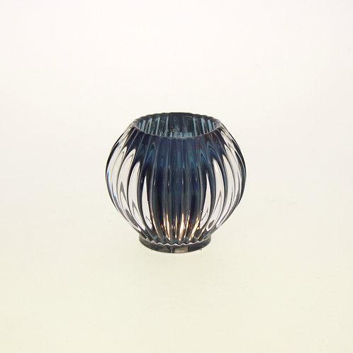 Windlicht Groove, dunkleblau, Glas, 9x9 cm