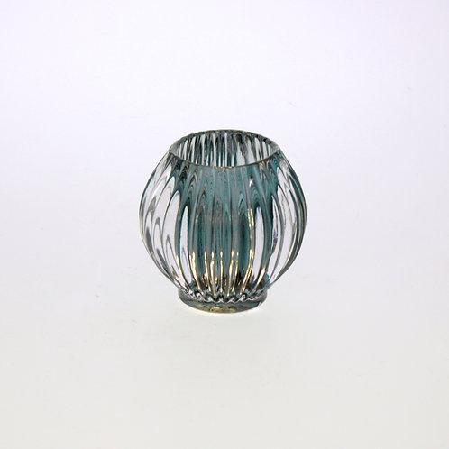 Windlicht Groove, hellblau, Glas, 9x9 cm
