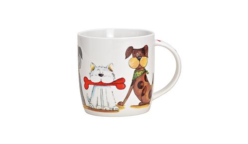 Becher Hund, Katze Dekor aus Porzellan
