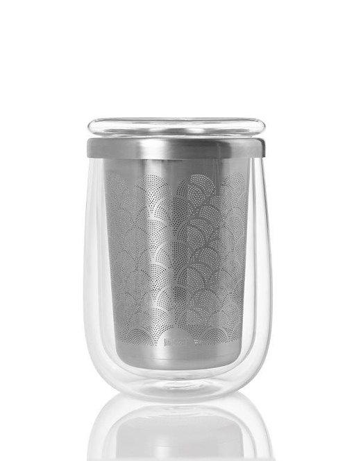 Teeglas mit Edelstahlfilter und Warmhaltedeckel Fusion Glas