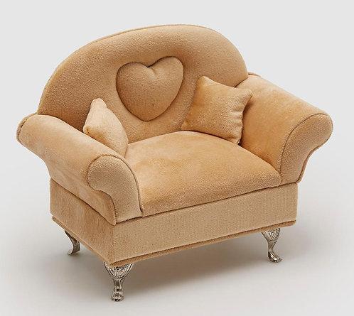 Schmuckdose Stuhl mit Herz Camel H 16 cm