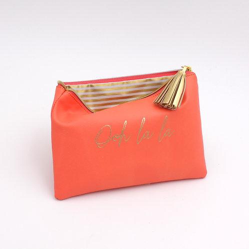 Mäppchen Ooh la la, apricot, Kunststoff/Polyester, 22,5x15,5 cm