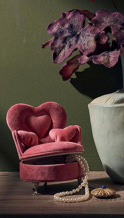 Schmuckdose Velvet Pink Stuhl HerzH 18 cm