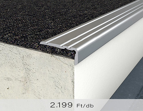 PF 8 Öntapadós lépcsőprofil 10 x 25 mm Ezüst 0,9 m