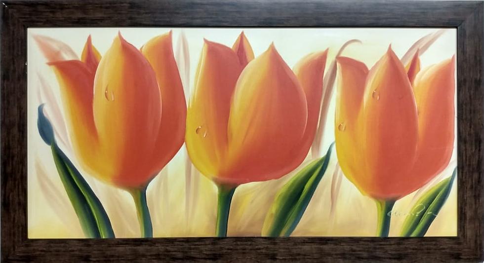 Tela Flores Laranja - Quadro Pronto OUTLET