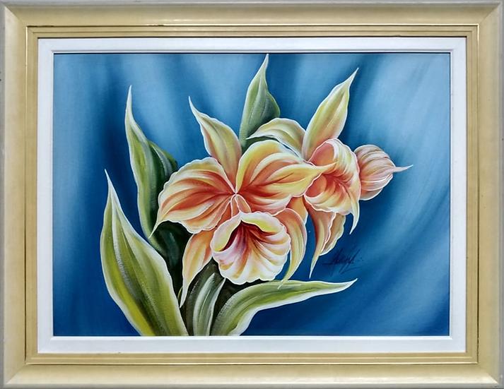 Tela Flores Fundo Azul - Quadro Pronto OUTLET