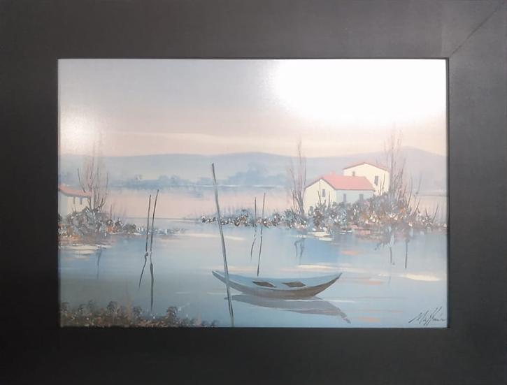 Barco e Casa - Quadro Pronto OUTLET