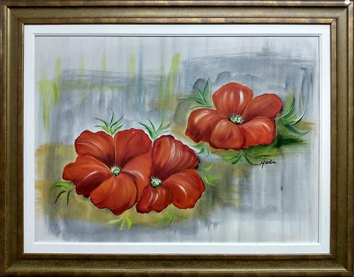 Tela 3 Flores Vermelhas Fundo Azul - Quadro Pronto OUTLET
