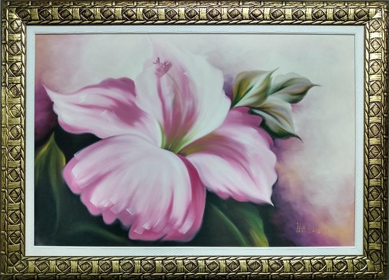 Tela Flor Rosa Moldura Trabalhada - Quadro Pronto OUTLET