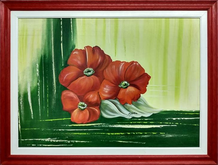 Tela 3 Flores Vermelhas Sobre o Verde - Quadro Pronto OUTLET