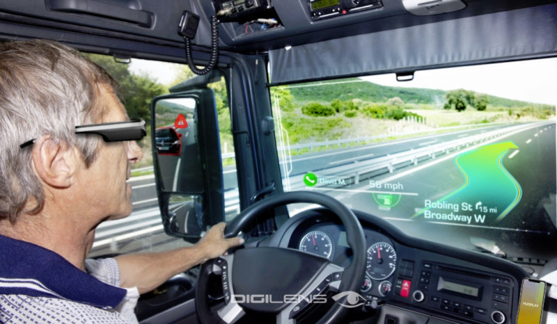 Above: DigiLens glasses can help you navigate your car.  Image Credit: DigiLens