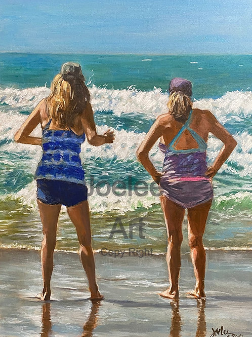 """WAVE WATCHERS"" Original Oil on Belgian linen"