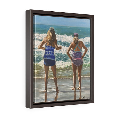 """Wave Watchers""  11X14  Framed Premium Gallery Wrap Canvas"