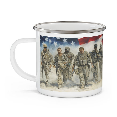 """FOR FREEDOM"" Enamel Campfire Mug"