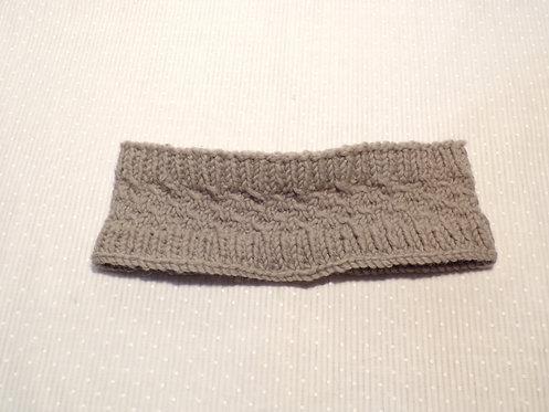 Hand Knit Wool Headband (Grey)