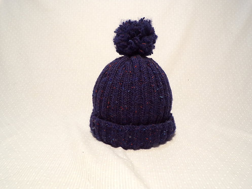 Knit Ribbed Hat (Blue)