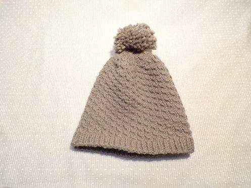 Hand Knit Wool Hat (Grey)