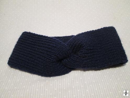 Winter Flower  Knit Headband (Dark Blue)