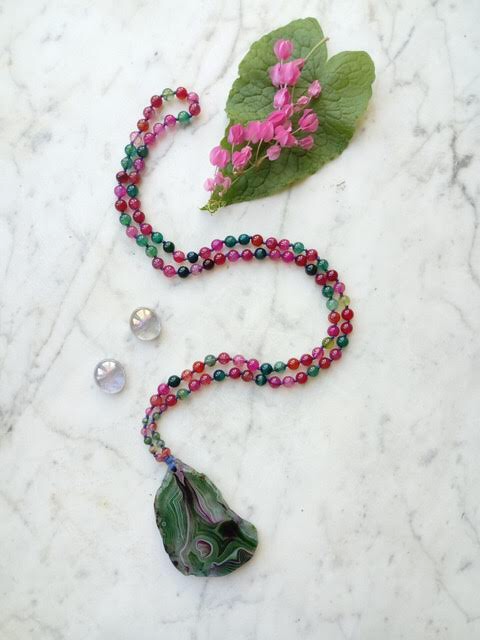 Sam Selby Green Agate and Watermelon Mala
