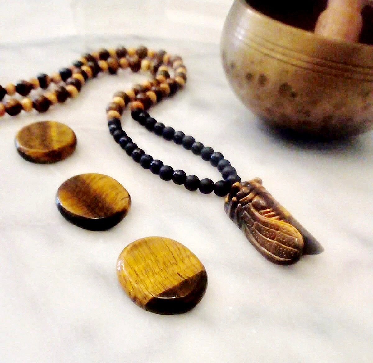 Sam Selby Tigers Eye Cicada and Black Agate Mala