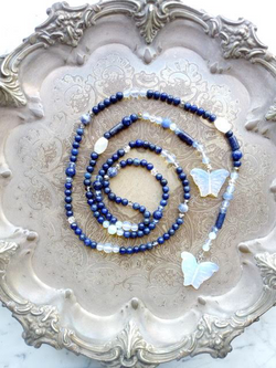 Sam Selby Lapis Lazuli and Opalite Wrap Necklace