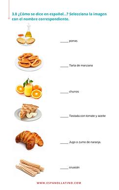 el desayuno en español