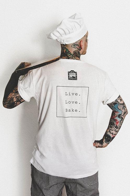 """Staff Shirt """"Live. Love. Bake."""" (Bua)"""