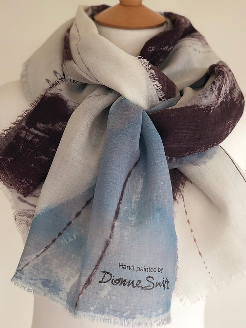 Hand Painted Wool Scarf - Delicate Lilac Land